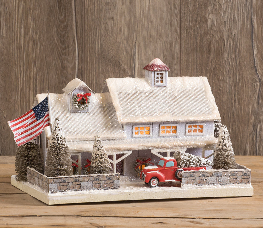White American Farmhouse with Red Truck Putz House