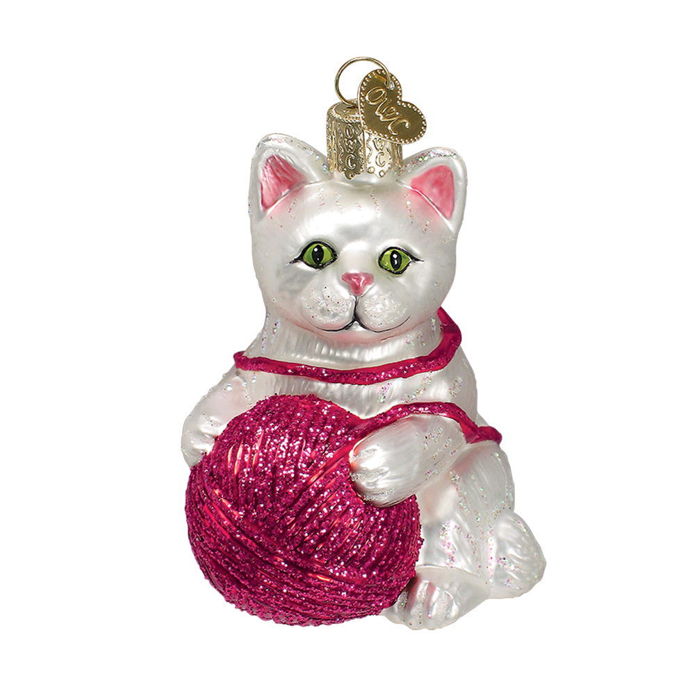 White Kitten with Ball of Yarn Glass Ornament by Old World Christmas