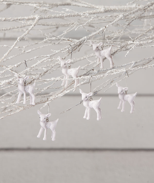 Mini White Deer Ornaments