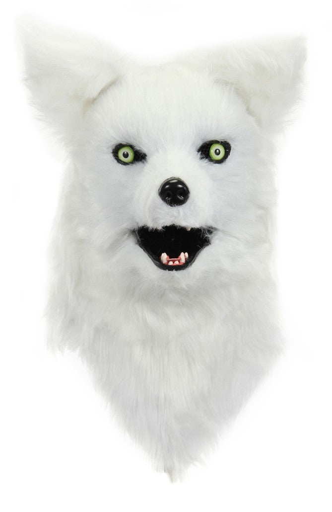 White Fox Mask With Moving Mouth Halloween Costume