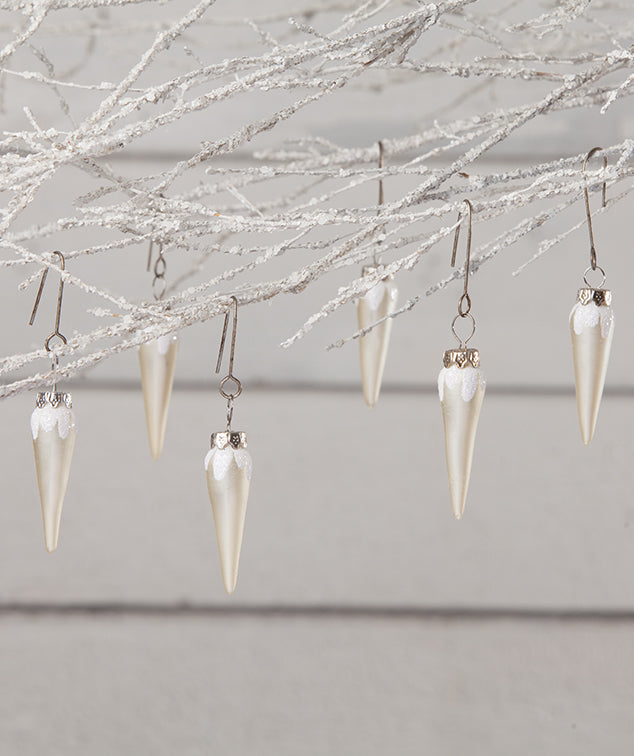 White Pearl Icicle Mini Ornaments
