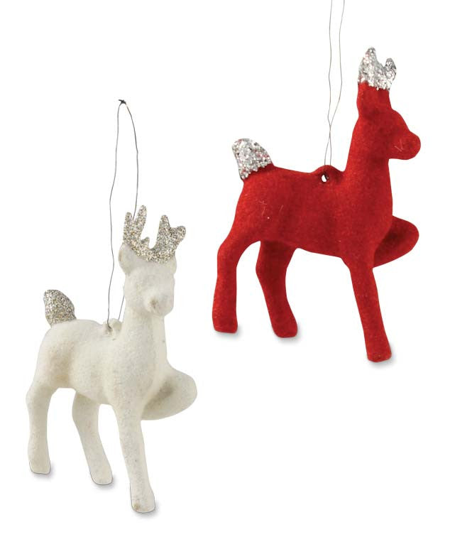 Red & White Flocked Reindeer Ornaments