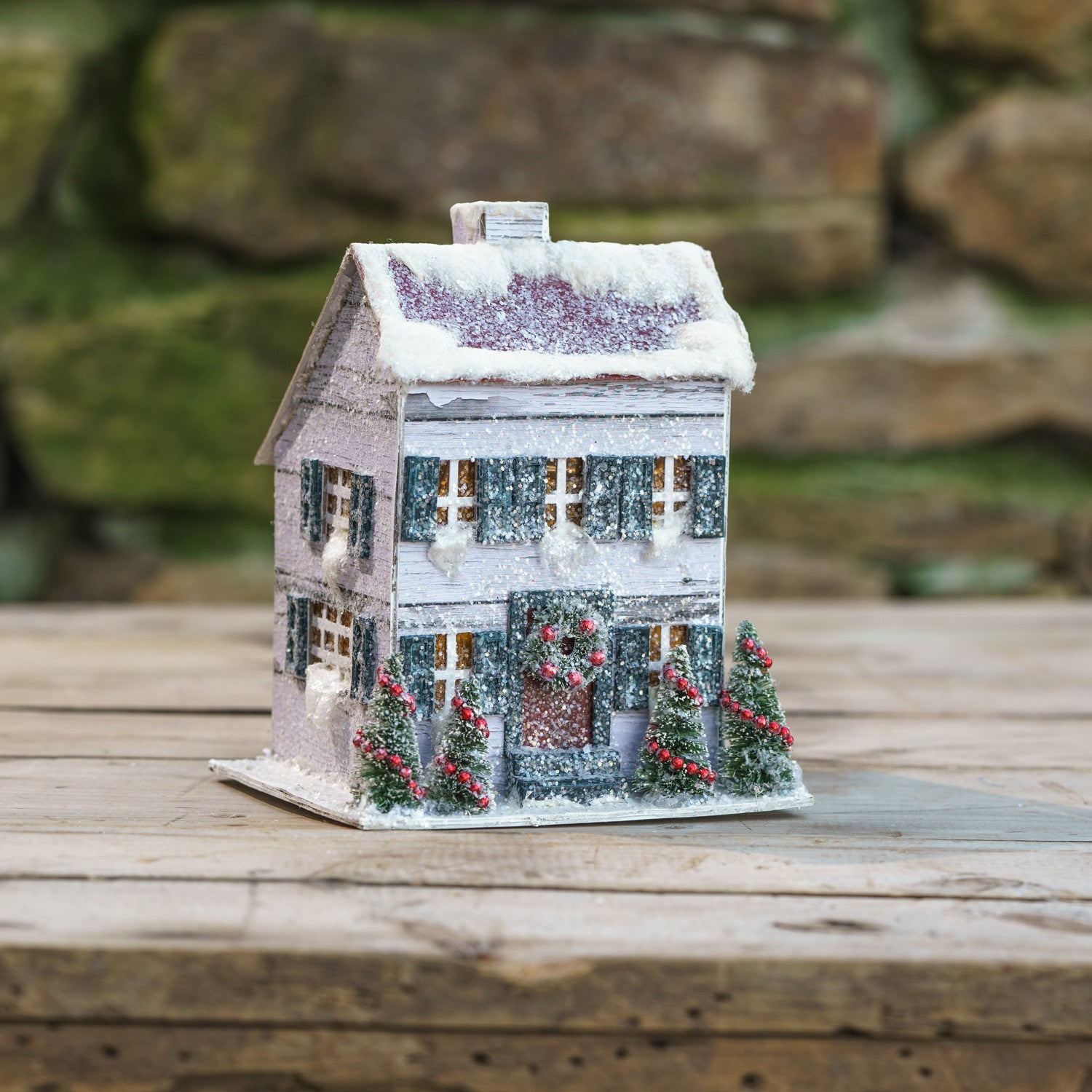 White Saltbox Christmas House with Light