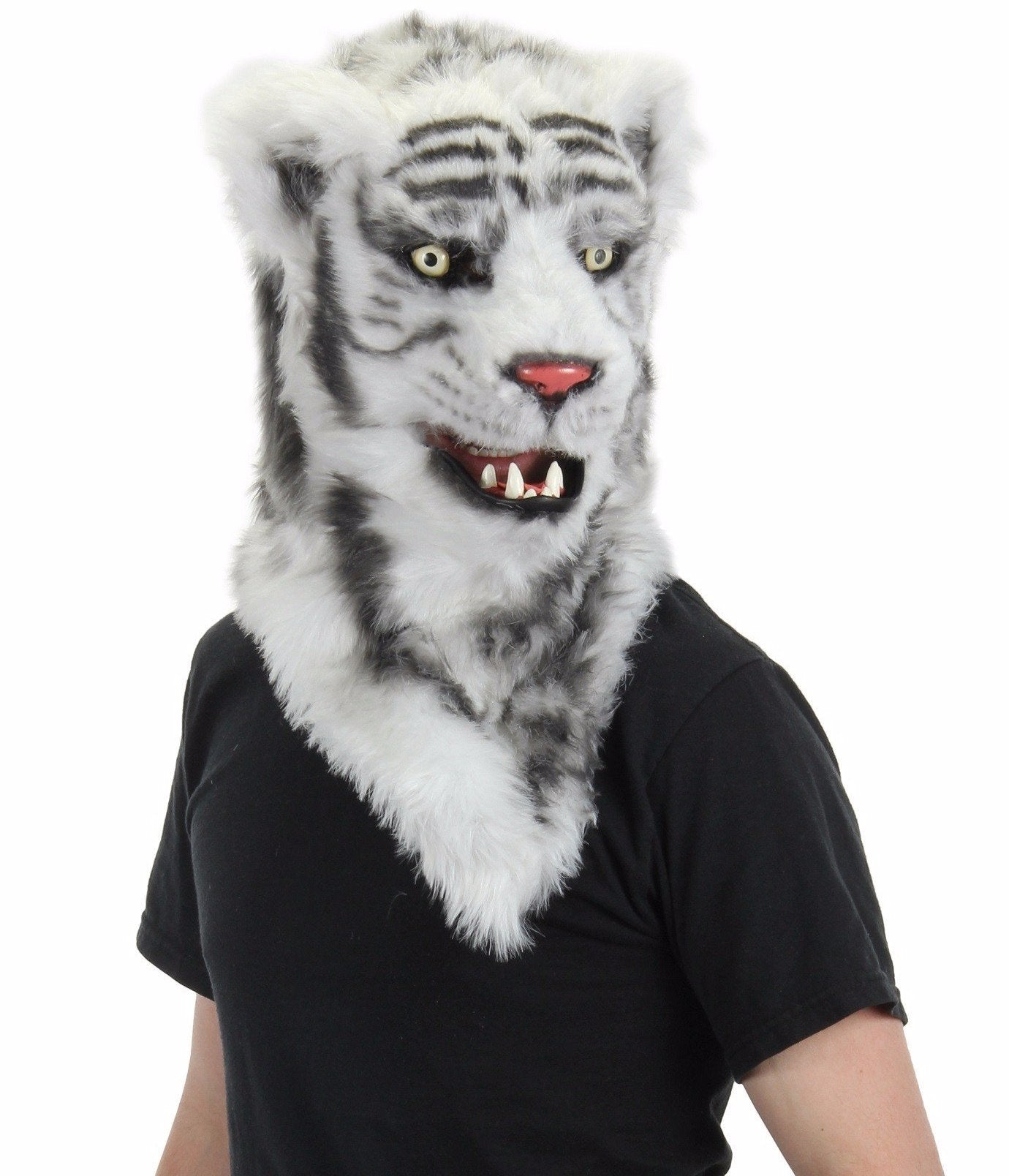 White Tiger Mask with Moving Mouth