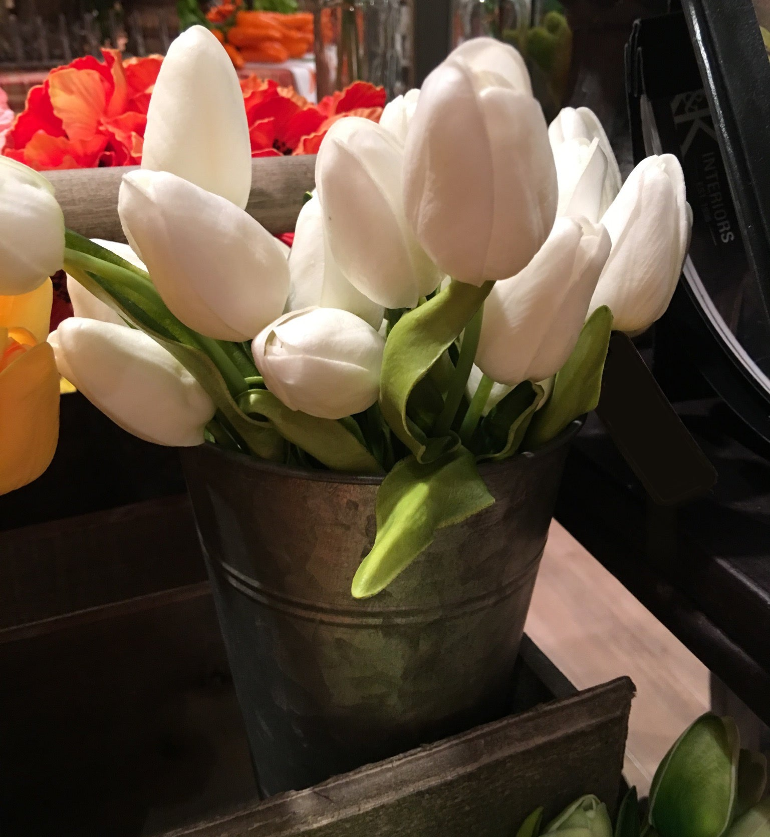 Realistic Faux Tulips, White