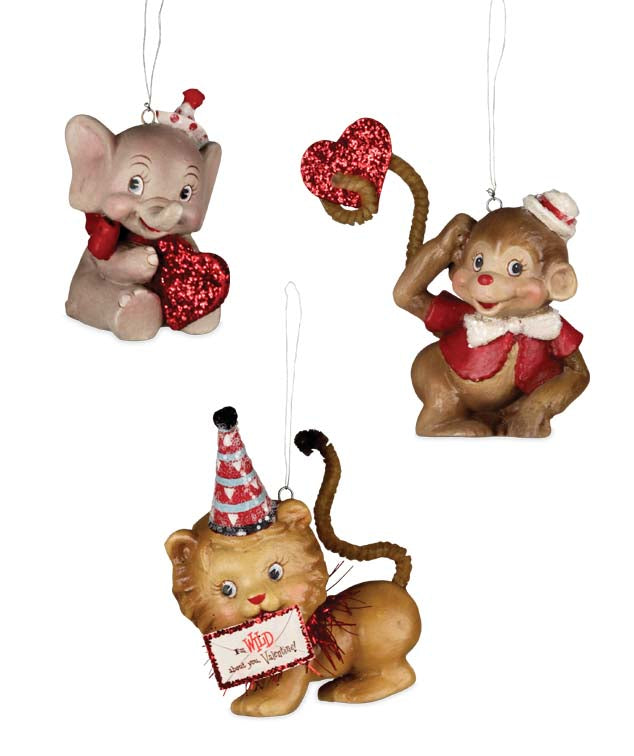 Wild About You Valentine Ornaments - Retro Elephant Monkey & Lion