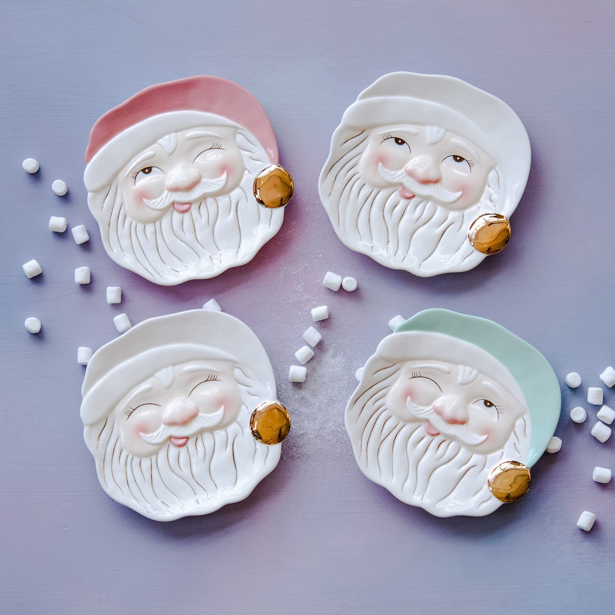 Winking Santa Cookie and Christmas Treat Plates