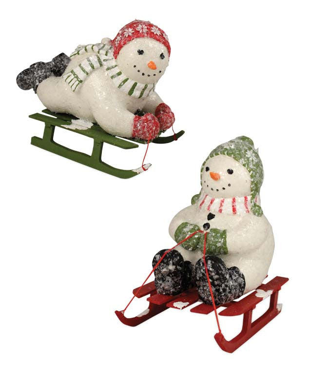 Winter Frolic Snowmen on Sleds