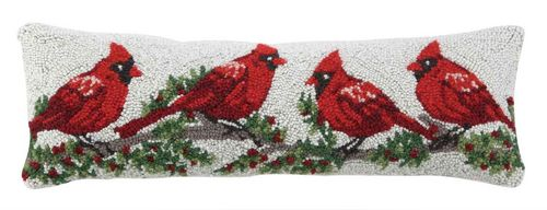 Winter Red Cardinals Hand Hooked Pillow