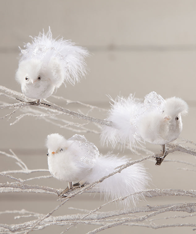 Winter Snow Bird Clip Ornaments