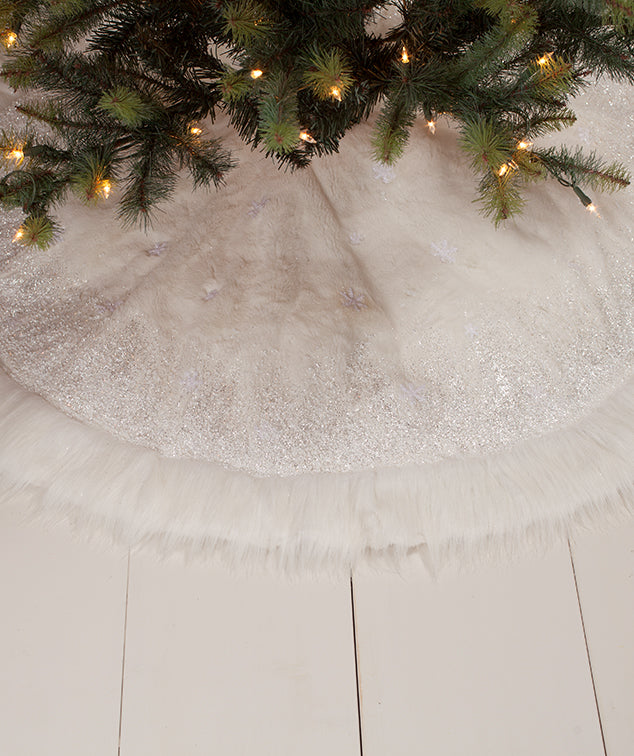 Winter Snowflake Tree Skirt, Faux Fur