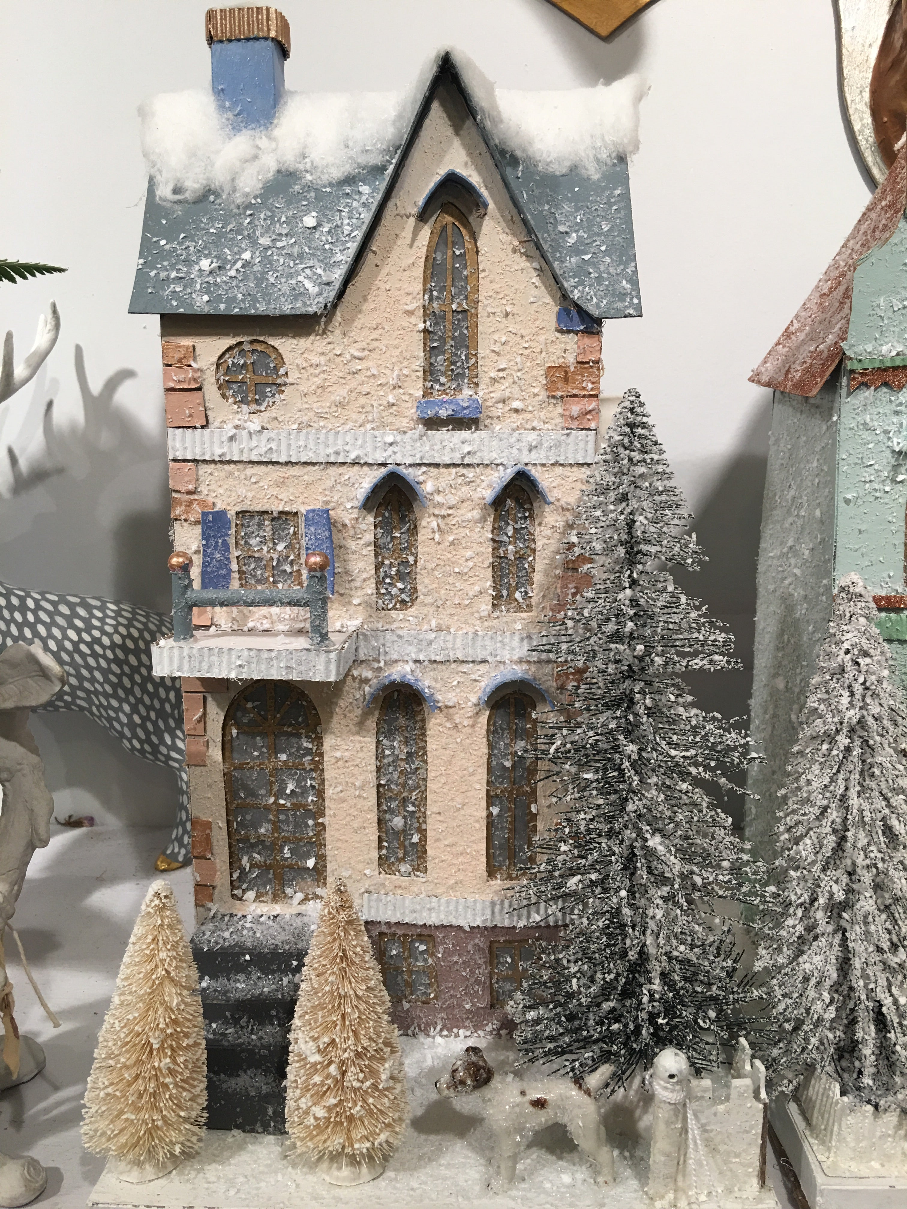 Winter Townhouse with Dog - Cream Putz House