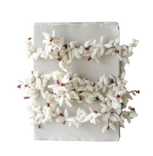 Winter White Felt Leaf Berry Garland - Small