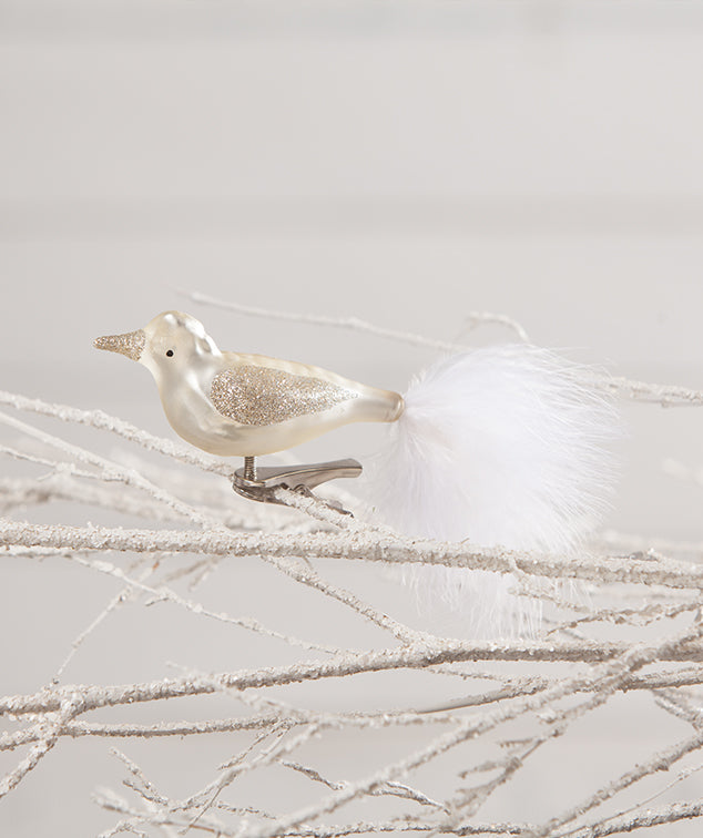 Bethany Lowe Winter White Glass Bird Clip Ornament