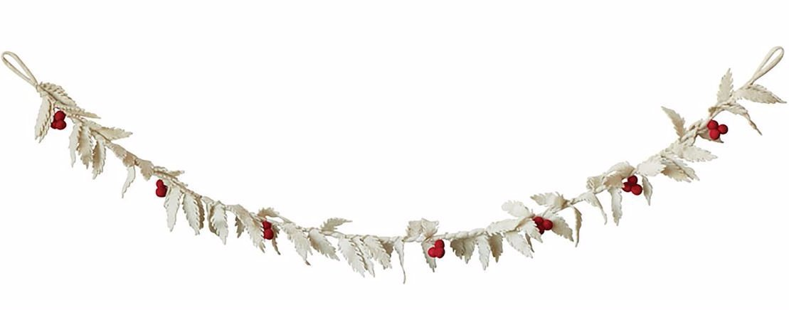 Winter White Felt Holly Garland
