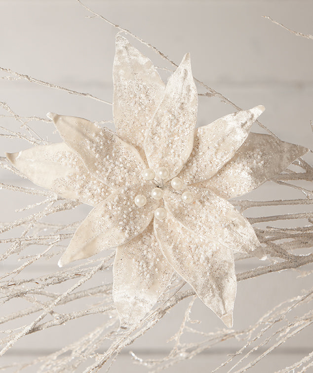 Winter White Poinsettia Clip, Large