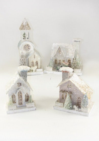 Winter Whites Putz House & Church Set