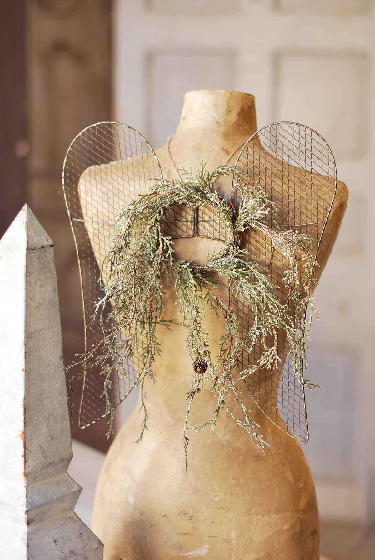 Wire Mesh Angel Wings on Vintage Manequin