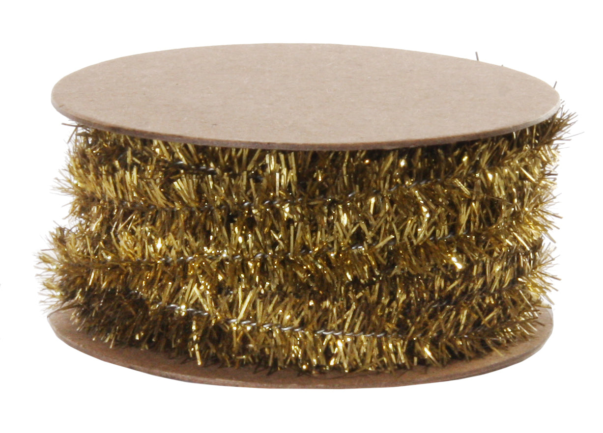 Wired Gold Tinsel Garland