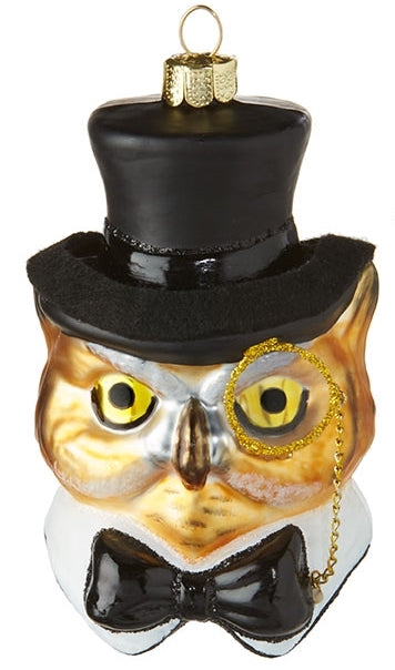 Wise Owl in Top Hat Ornament and Monocle