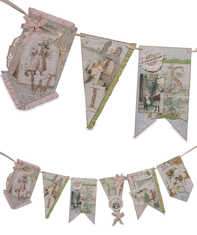 Wishes Pastel Vintage Christmas Garland - Bethany Lowe 2018
