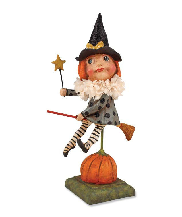 Witch Girl on Broom Debra Schcoh Halloween