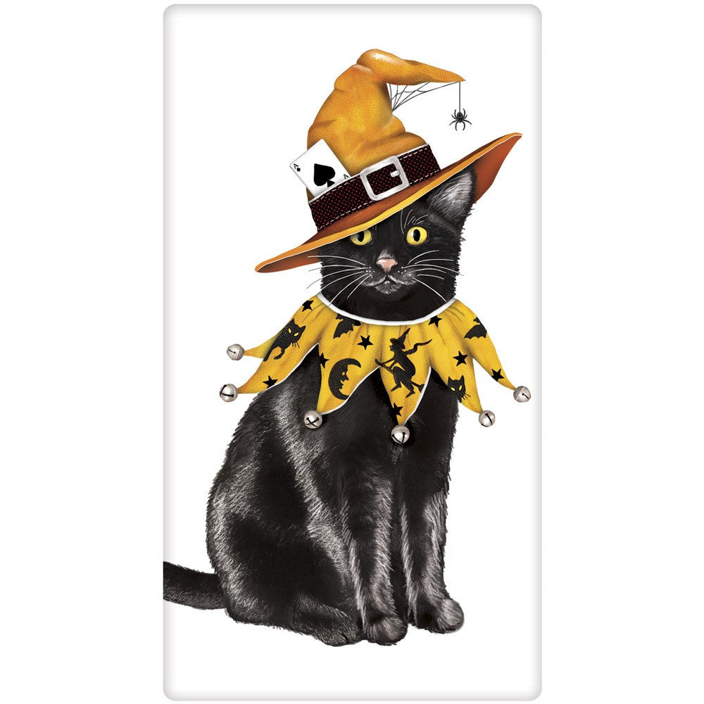 Cat Witch Halloween Kitchen Towels by Mary Lake-Thompson