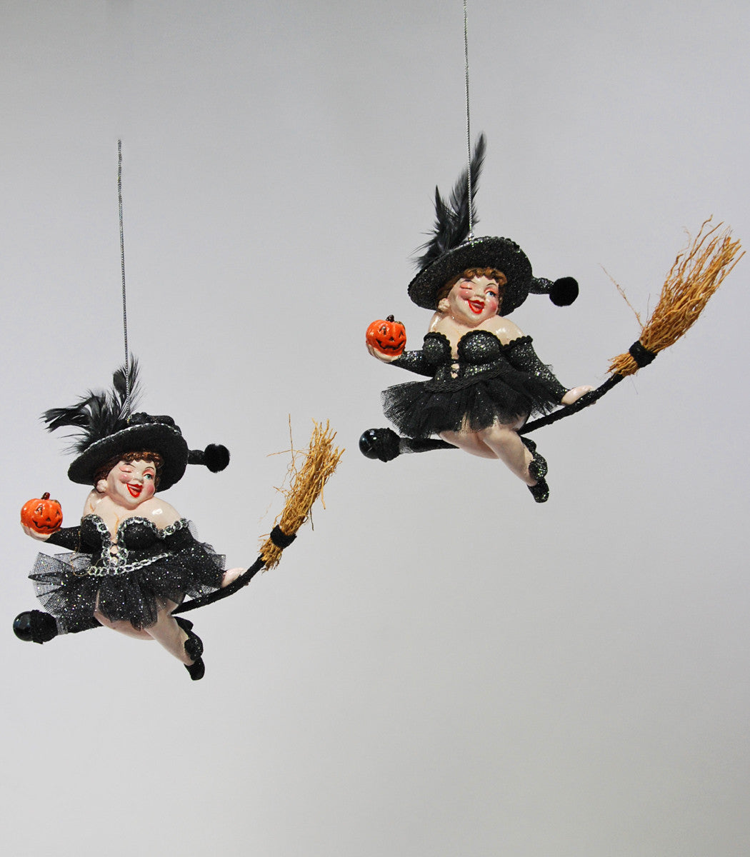 Witch on Broom Ornaments - Katherine's Collection Halloween