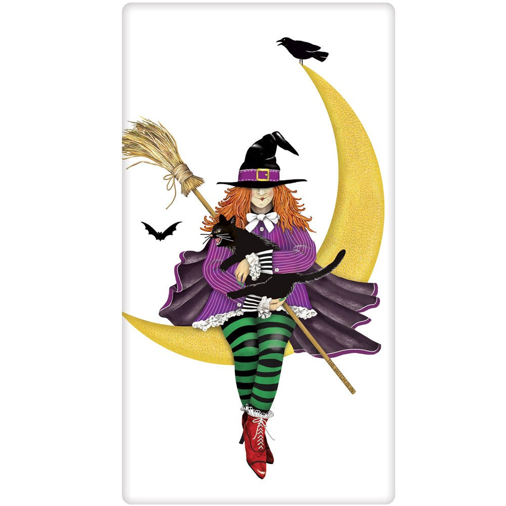 Witch on Moon Towel - Hallowen Towels by Mary Lake-Thompson