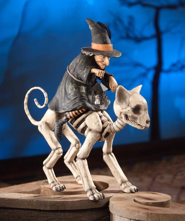 Witch Riding Skelly Cat by Bethany Lowe
