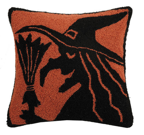 Witch Silhouette Pillow - Hooked Halloween Pillows