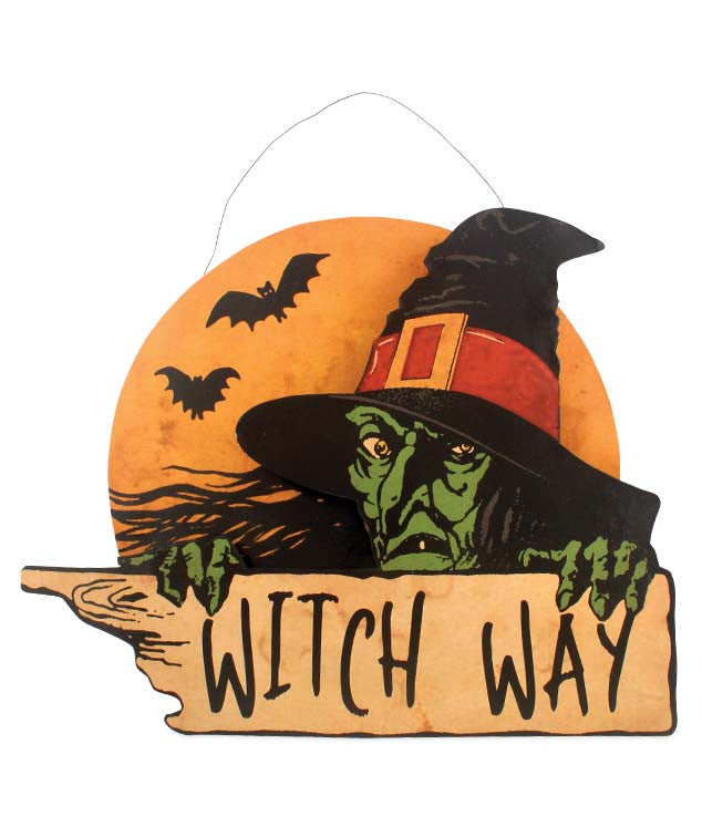 Witch Way Tin Sign - Bethany Lowe