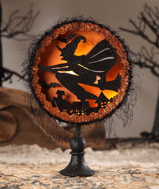Witch's Flight Shadowbox on Pedestal with LED Light