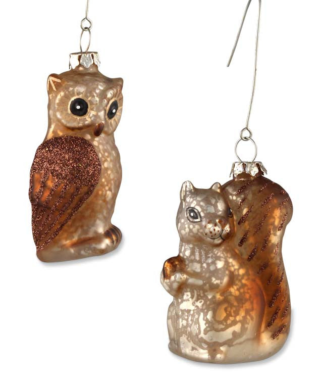Woodland Critter Ornaments - Owl & Squirrel Glass Ornaments