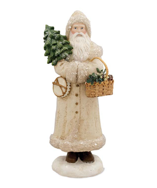 Woodland Santa with Basket Figurine - Winter White