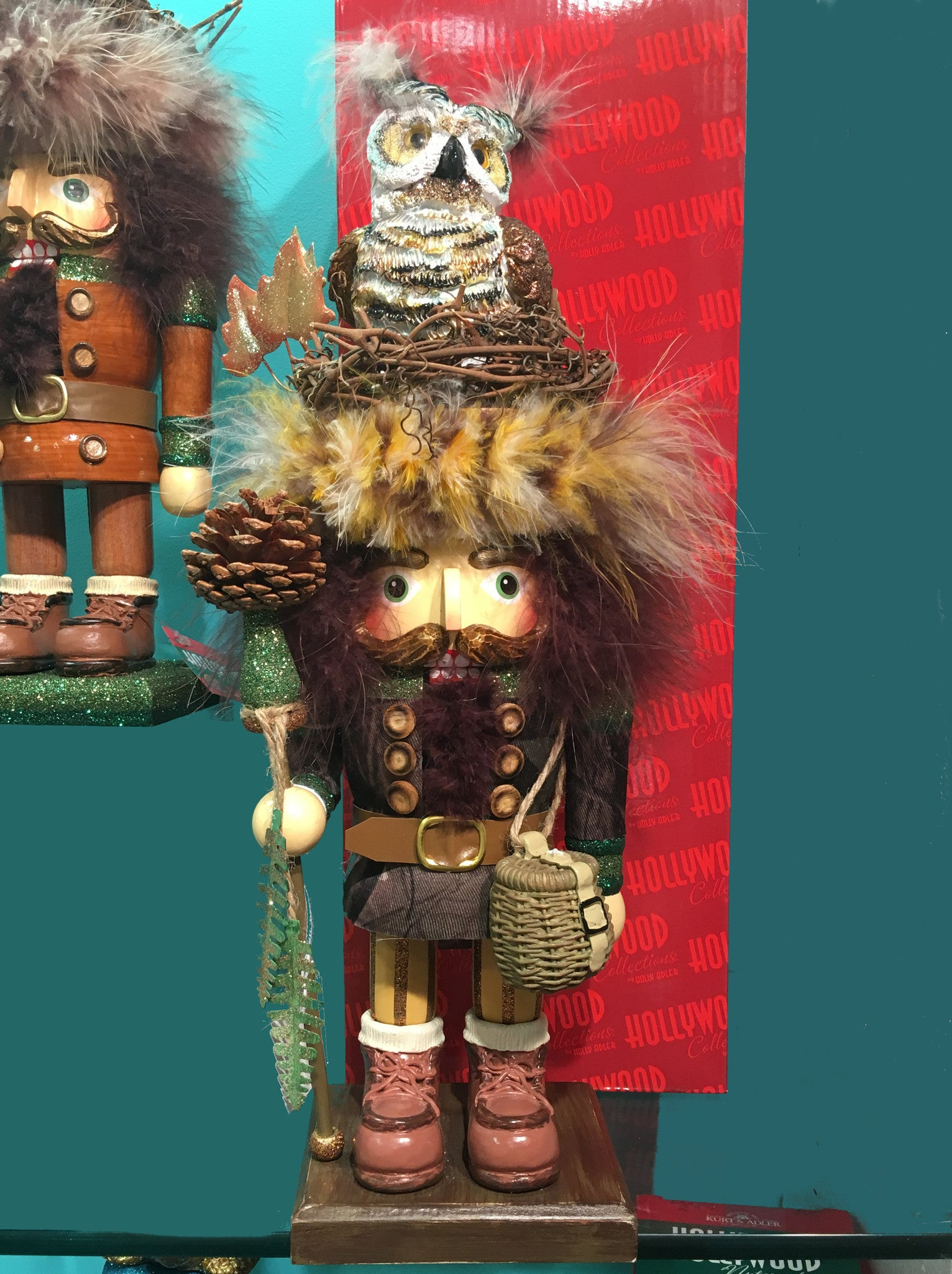 Kurt Adler Hollywood Woodsman with Owl Hat Nutcracker