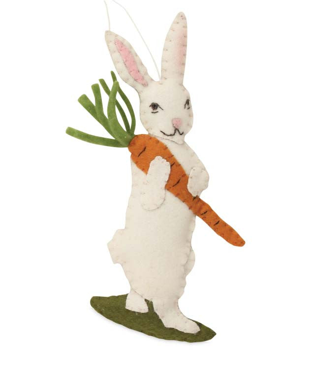 Wool Felt Bunny with Carrot Ornament