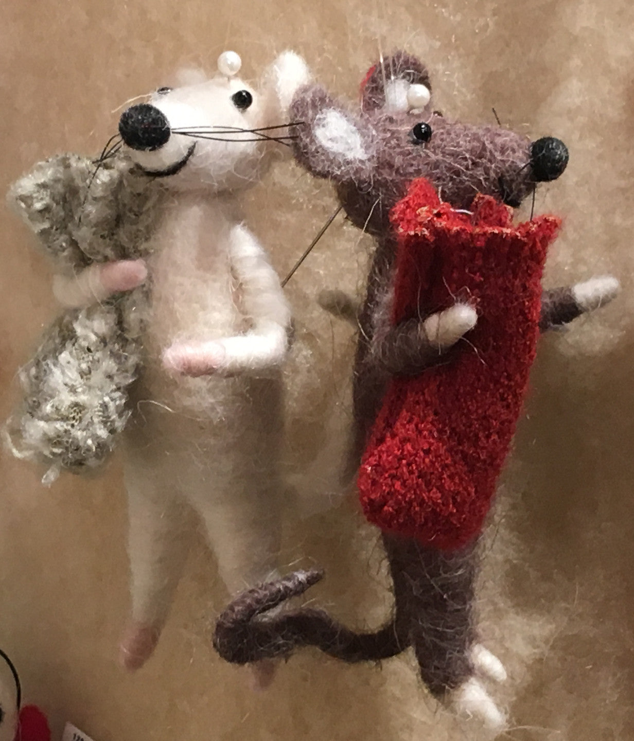Wool Christmas Mice Ornaments