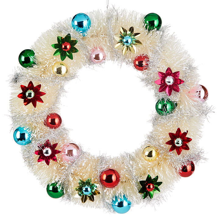 Ivory Bottle Brush Wreath with Foil Ornaments