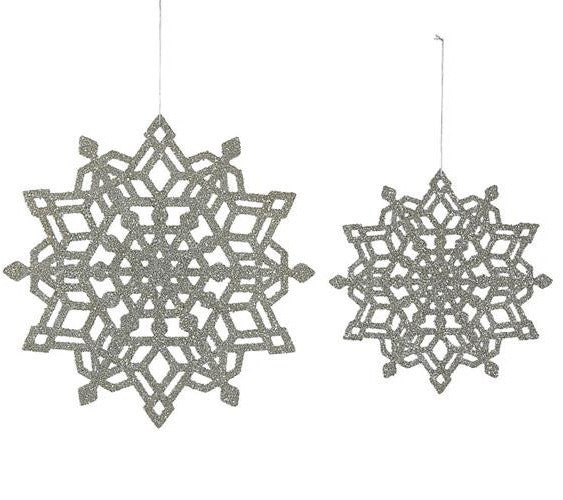 Large Silver Glittered Snowflakes