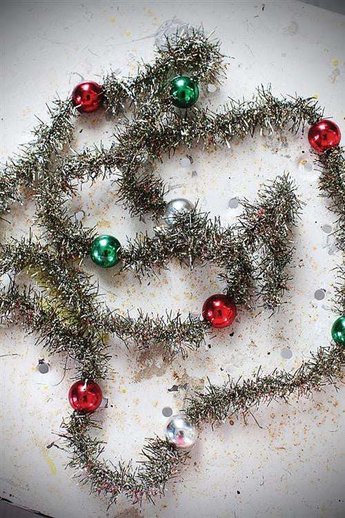 Traditional bead tinsel garland christmas decorations