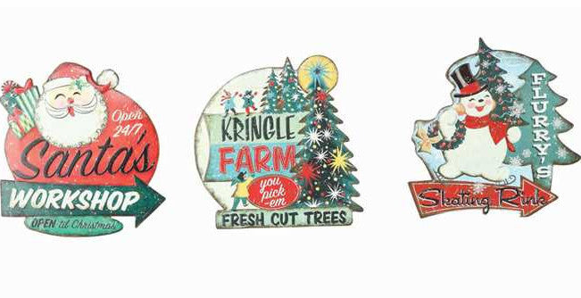 Retro Tin Christmas Signs