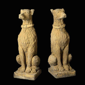 Pair of Deer Hound Statues