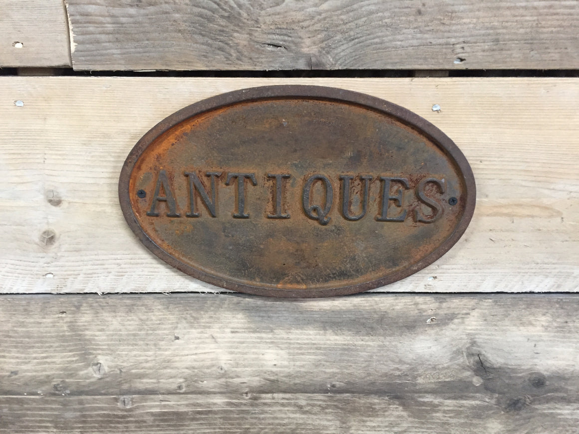 Cast Iron Antiques Sign
