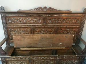 Hand Carved Oak Box Settle