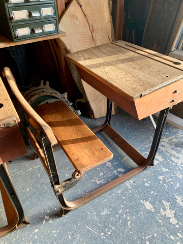 Vintage School Desk Oak 1950s