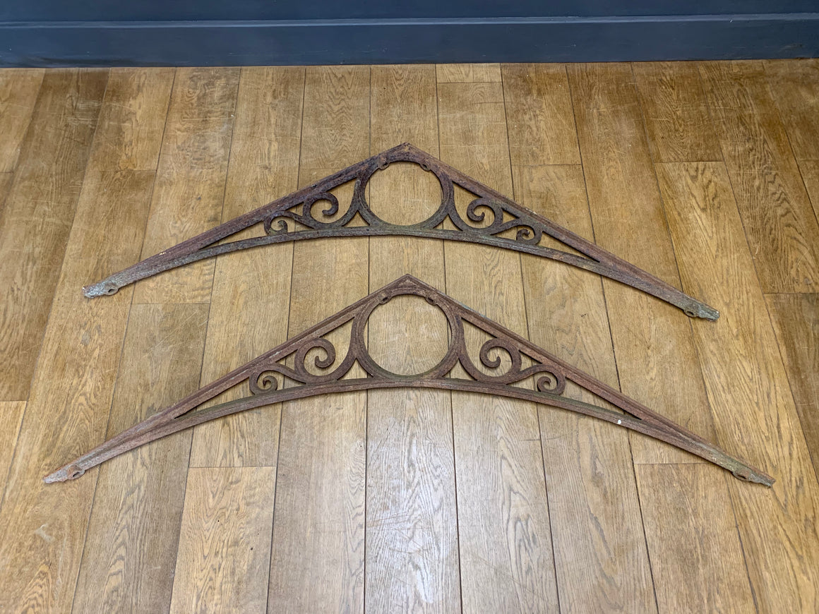 Set of 2 19th C. Cast Iron Greenhouse Roof Brackets