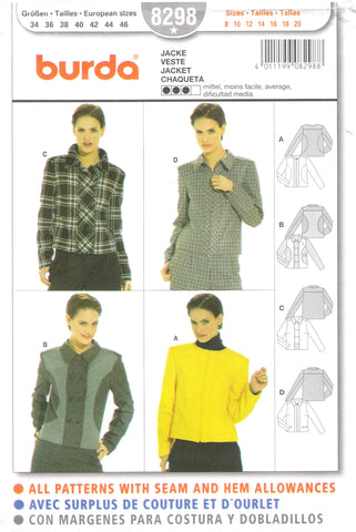 Burda 8298 Misses' Jacket - (8-10-12-14-16-18-20) - Smiths Depot Sewing Pattern Superstore