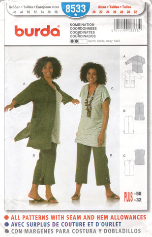 Burda 8533 Misses' Coordinates - (20-22-24-26-28-30-32) - Smiths Depot Sewing Pattern Superstore