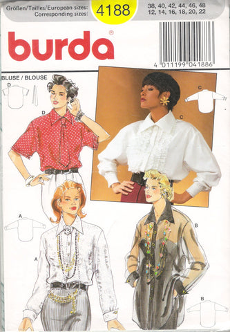 Burda 4188 Misses' Blouse Top - (12-14-16-18-20-22) - Smiths Depot Sewing Pattern Superstore